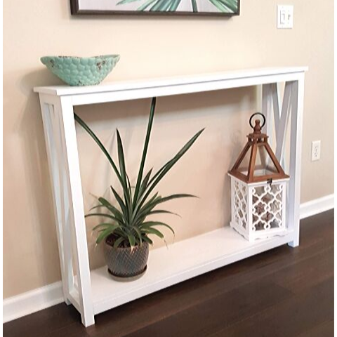 narrow white console table
