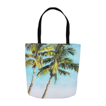 Load image into Gallery viewer, palm tree tote bag with two palm trees, original artwork