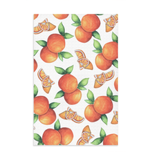Load image into Gallery viewer, orange kitchen towel with citrus fruit oranges and slices all over