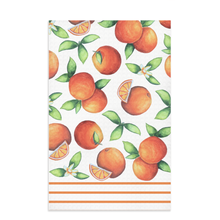 Load image into Gallery viewer, orange kitchen towel with citrus fruit oranges and dark orange lines on bottom