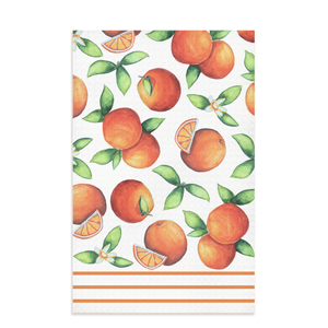 orange kitchen towel with citrus fruit oranges and dark orange lines on bottom