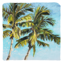 Load image into Gallery viewer, palm tree pillow with two palm trees, original artwork
