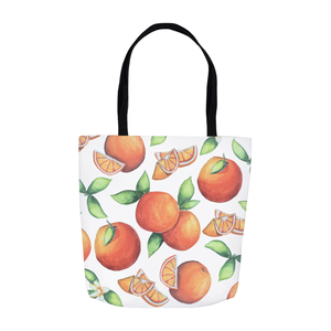 orange tote bag with orange fruit designs all over