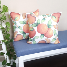 Load image into Gallery viewer, Orange throw pillow with fruit designs all over