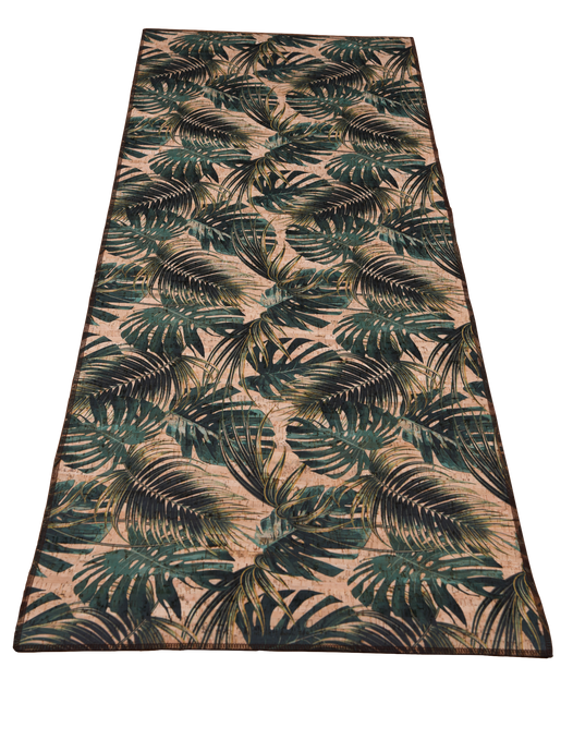 palm leaves mini table runner made of eco-friendly cork fabric