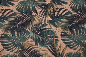 palm leaves eco-friendly cork fabric