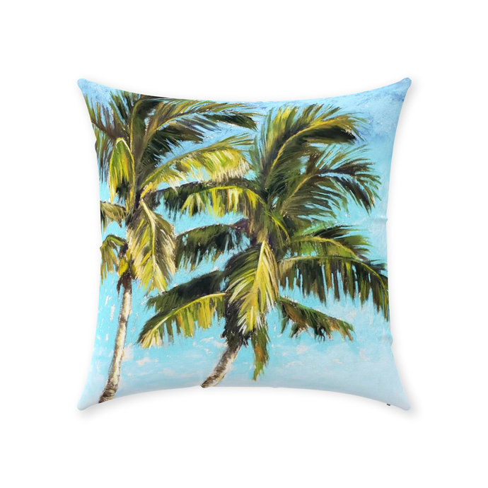 palm tree pillow with two palm trees, original artwork
