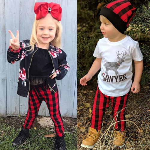 Casual Red Plaid Pants Leggings Bottoms