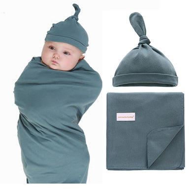 Baby Boys Muslin Receiving Blanket +Hat