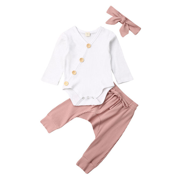 Baby Girls Flower Tops Bodysuit Pants