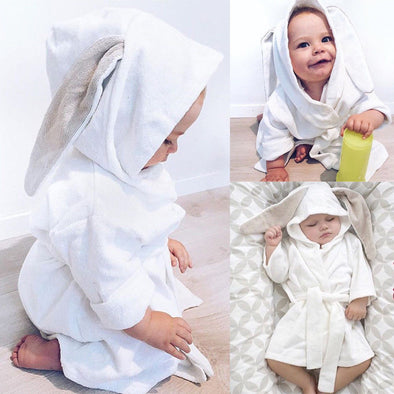 Boy Bathing Gown Soft Cloth Hooded Towel