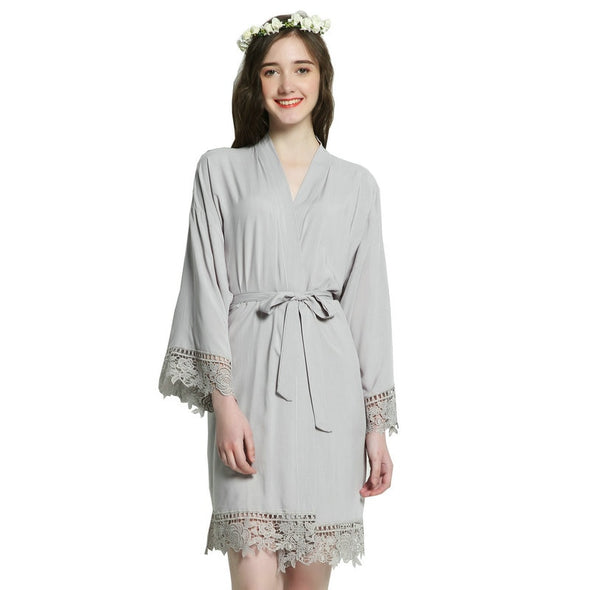 Women Solid Cotton Lace Robe