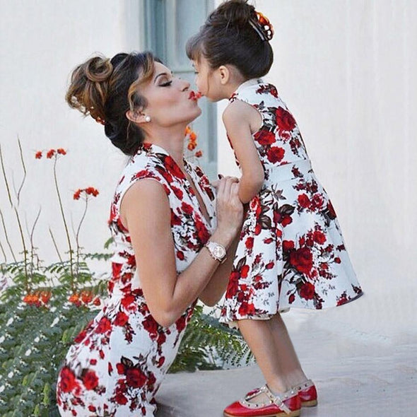 Mother Daughter Family Matching Floral Dress