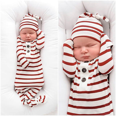 Infant Baby Girls Striped Sleeping Knotted Gowns