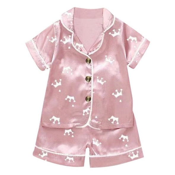 Girls Cartoon Bear Print Short Sleeve Pajama