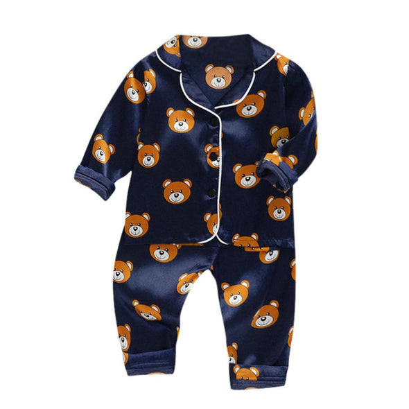 Long Sleeve Cartoon Bear Tops+Pants Pajamas