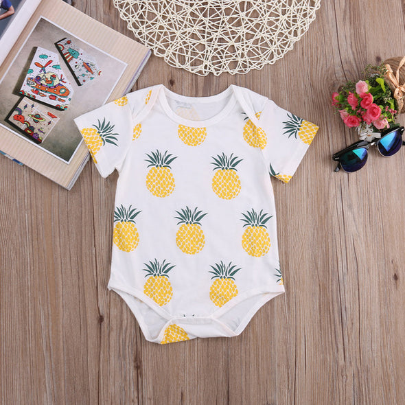 Baby Boy Short Sleeve Pineapple Rompers Pajamas
