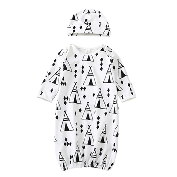 Cartoon Pattern Sleeping Knotted Gowns