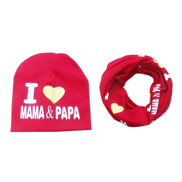 """I Love Mama & Papa"" Printed Caps"
