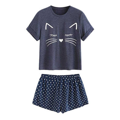 Cute Cat Graphic Tee Shorts Sleepwear Pajama Set
