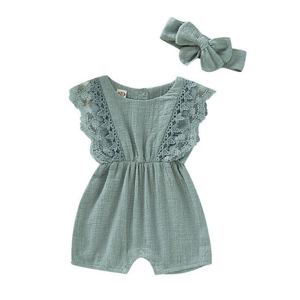 Flare Sleeve Romper With Headband One-Pieces