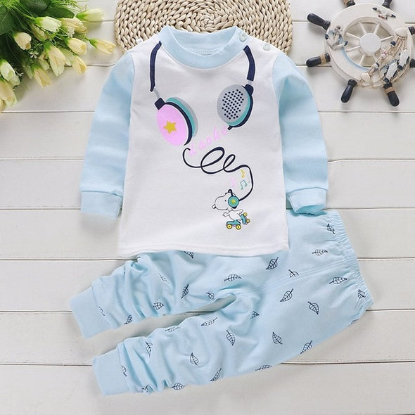 Cute Cartoon Print Long Sleeve O-Neck Pajama