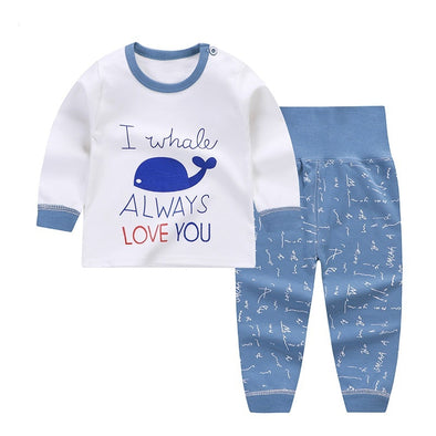 Cartoon Print Baby Boys Pajamas Sets