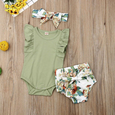 Flower Print Pants Headband Bodysuit