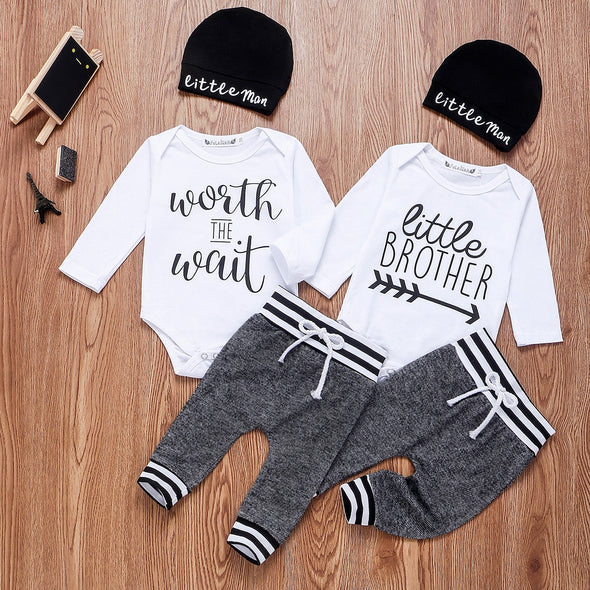 Little Brother Long Sleeve Romper Pant Hats Sets 3pcs