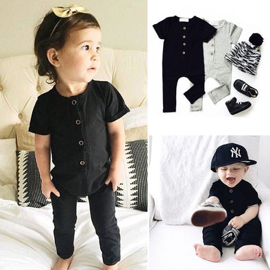 Baby Girl Romper Short Sleeve Button One Piece