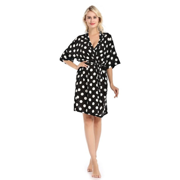 Cotton Bathrobe Polka Dot Print Sleeping Robe
