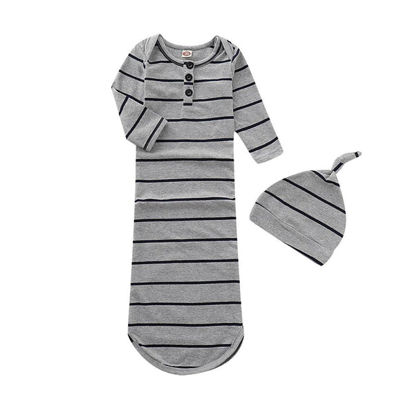 Stripe Long Sleeve Sleeping Knotted Gowns