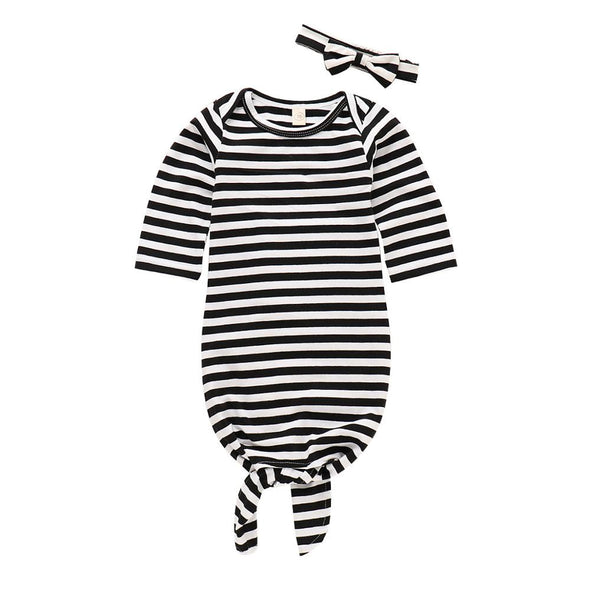 Soft Cotton Black Stripe Girls Knotted Gowns