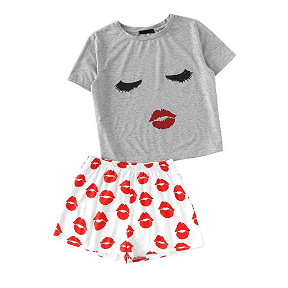 Lips Graphic Tops Shorts Sleepwear Pajama
