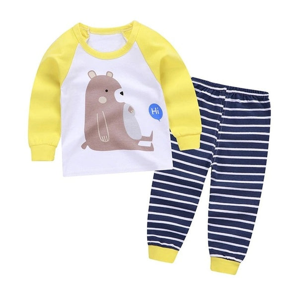 Girls Long Sleeve Cartoon Pajamas