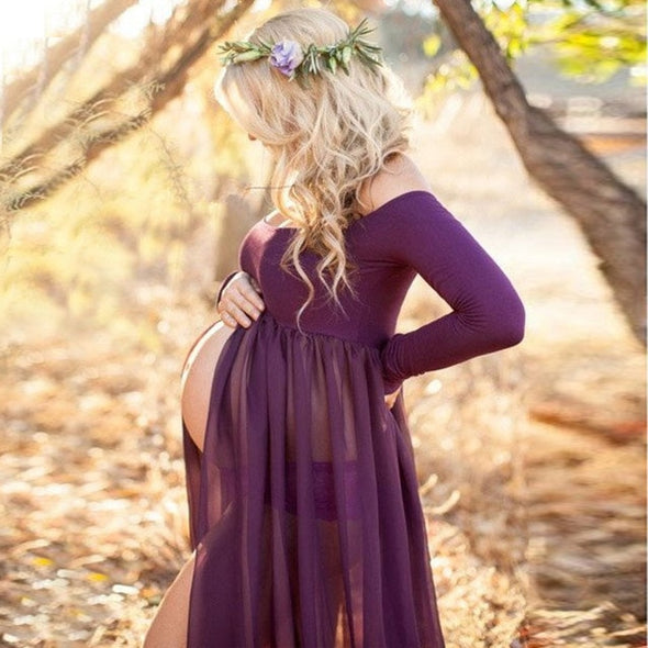 Women Pregnancy Maternity Lace Maxi Dresses