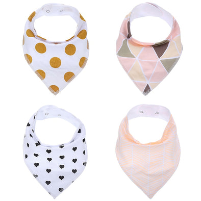 Cute Baby Bandana Drool Bibs - 4- Pack Set