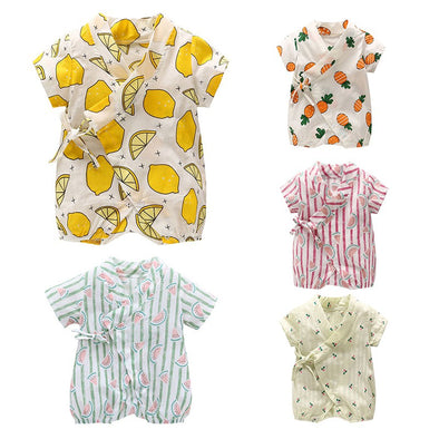Short-sleeved Fruit Cotton Kimono Jumpsuits