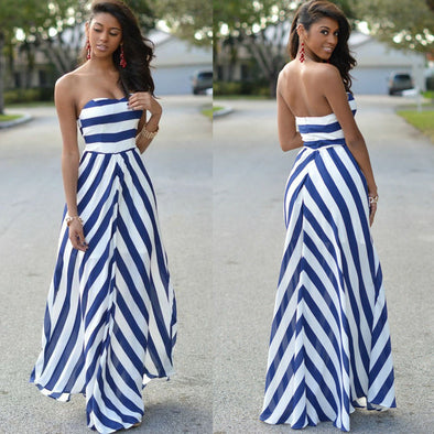 Backless Striped Casual Long Maxi Dress