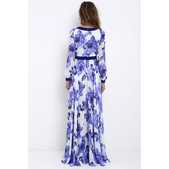 Ladies Floral Printed Long Sleeve Maxi Dress