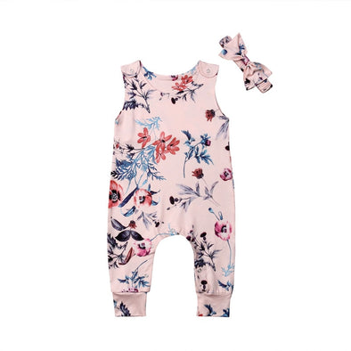 2PCS 2019 Cute Newborn Infant Baby Girl Floral Romper Jumpsuit Outfits Clothes Headband Set 0-24M