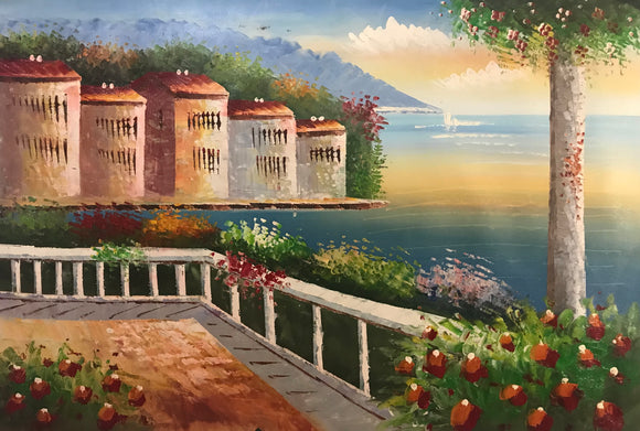 Lake Scenery - Hand Painted Modern Oil Painting - Gift idea