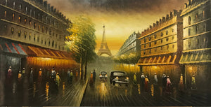 Eiffel Tower  Paris Streets  Hand Painted Modern Cityscape Oil Painting      Canvas Painting - Gift idea