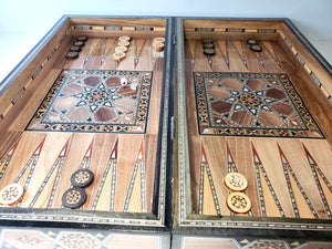 Wooden Chess Set and Backgammon Board