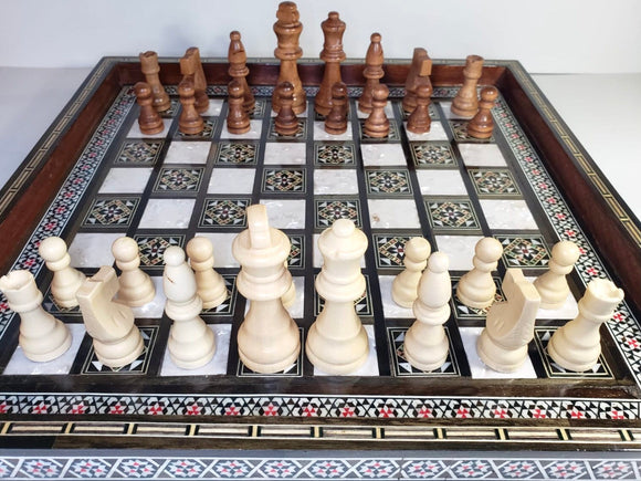 Inlaid Wooden Chess Board with 32 wooden chess piece