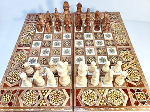 Handmade Backgammon Set with Checkers and Chess Pieces