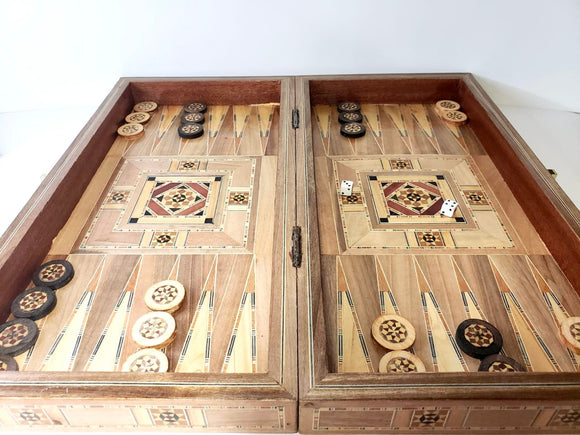 Engraved Handmade Chess and Backgammon Set