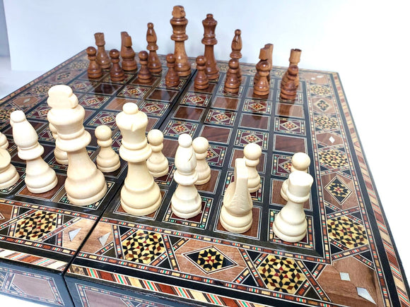 Wooden Chess Board Inlaid with Mother of Pearls