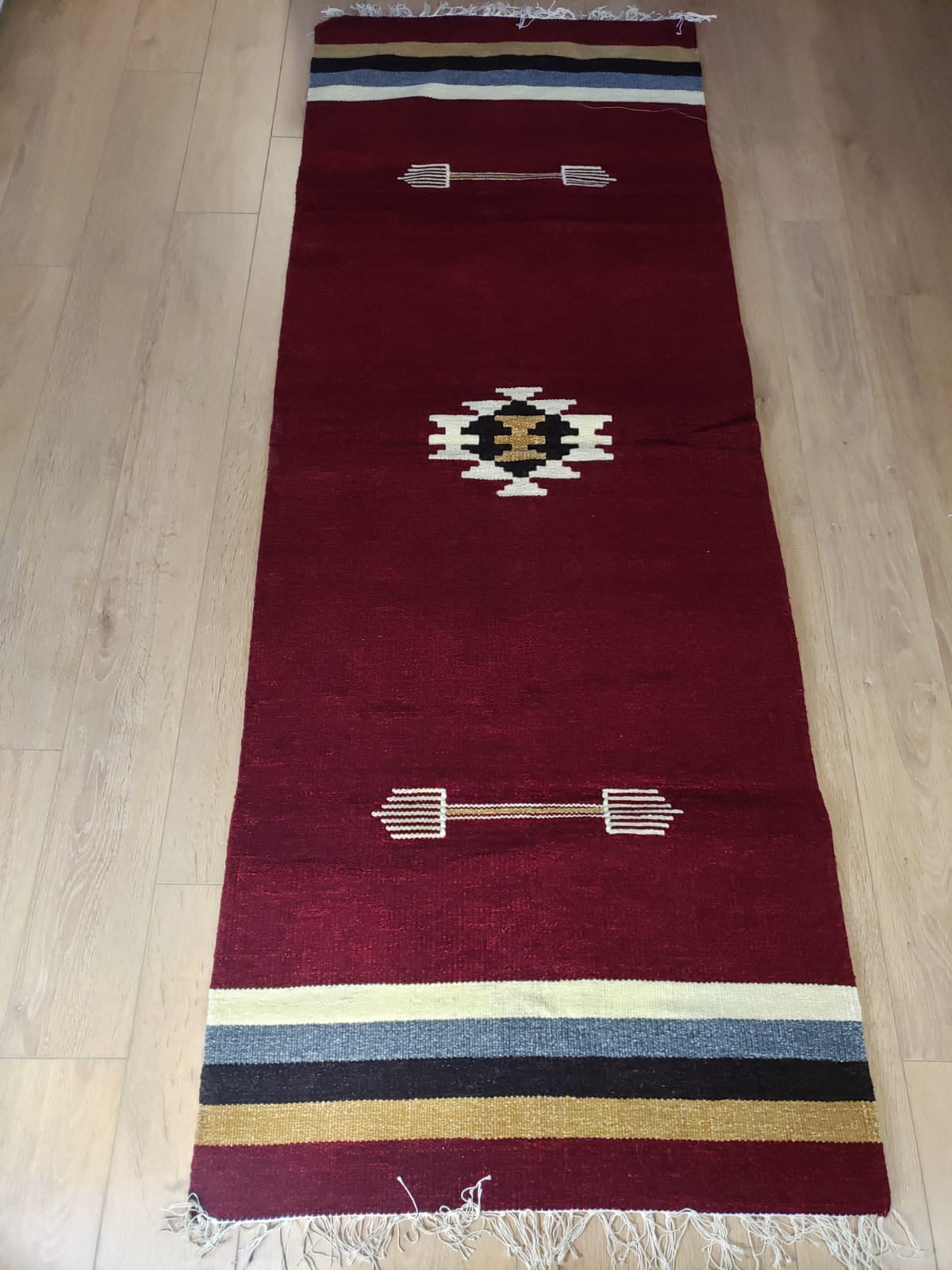 Burgundy Handmade Runner Rug - Gift idea