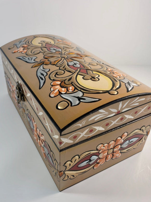 Pale Brown Bombeh Hand Painted Wooden Box with 3D Floral Design - Gift idea